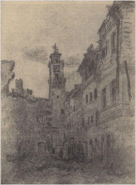 В. Цигаль. Каменец-Подольский. Ратуша. Конец марта 1944 г. Бумага, карандаш. 1944 год