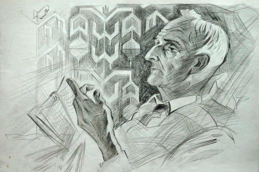 Портрет А. Л. Грена. Бумага, карандаш