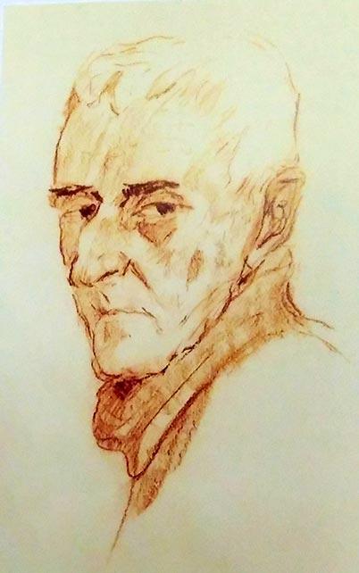 А. Данилюк. Портрет А. Грена. Бумага, сангина. 60-е прошлого века