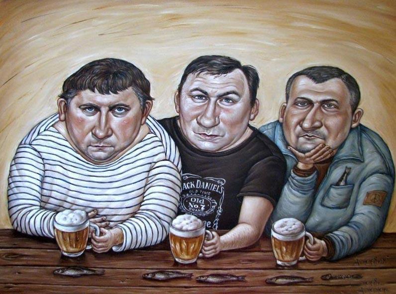 дЖерих анЖела. Три холостяка. Холст, масло. 2014