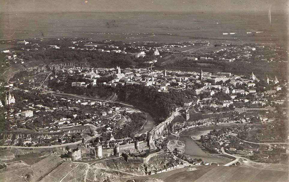 Вид на город и крепость с высоты птичьего полета. 1914 год